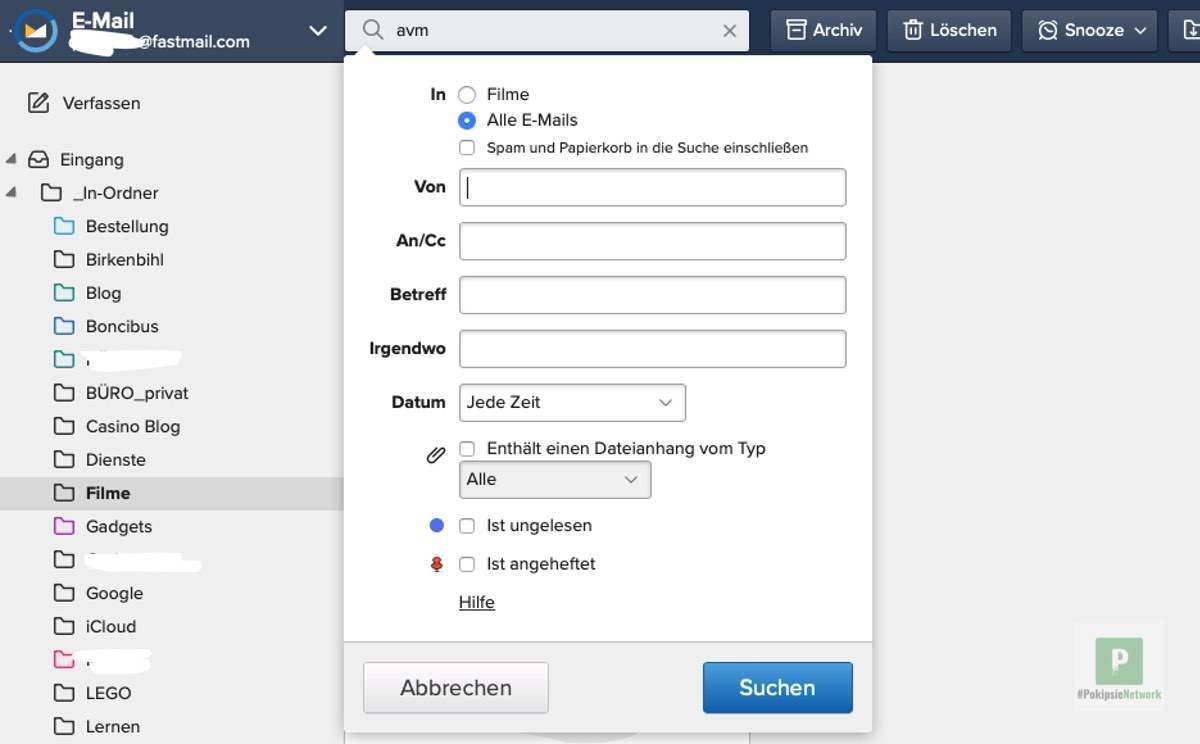 Fastmail - Die globale Suchfunktion