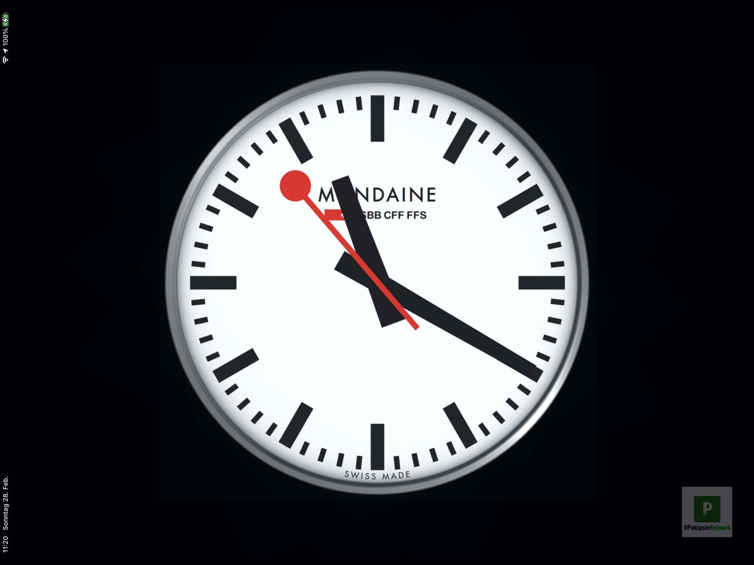 Mondaine iOS Uhr – Üsi Bahnhofsuhr ufam iPad