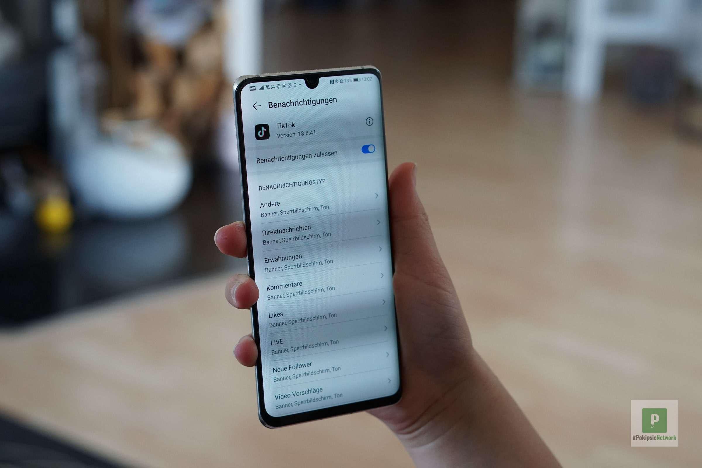 Mitteilungseinstellungen - Pushmeldungen - unter Android