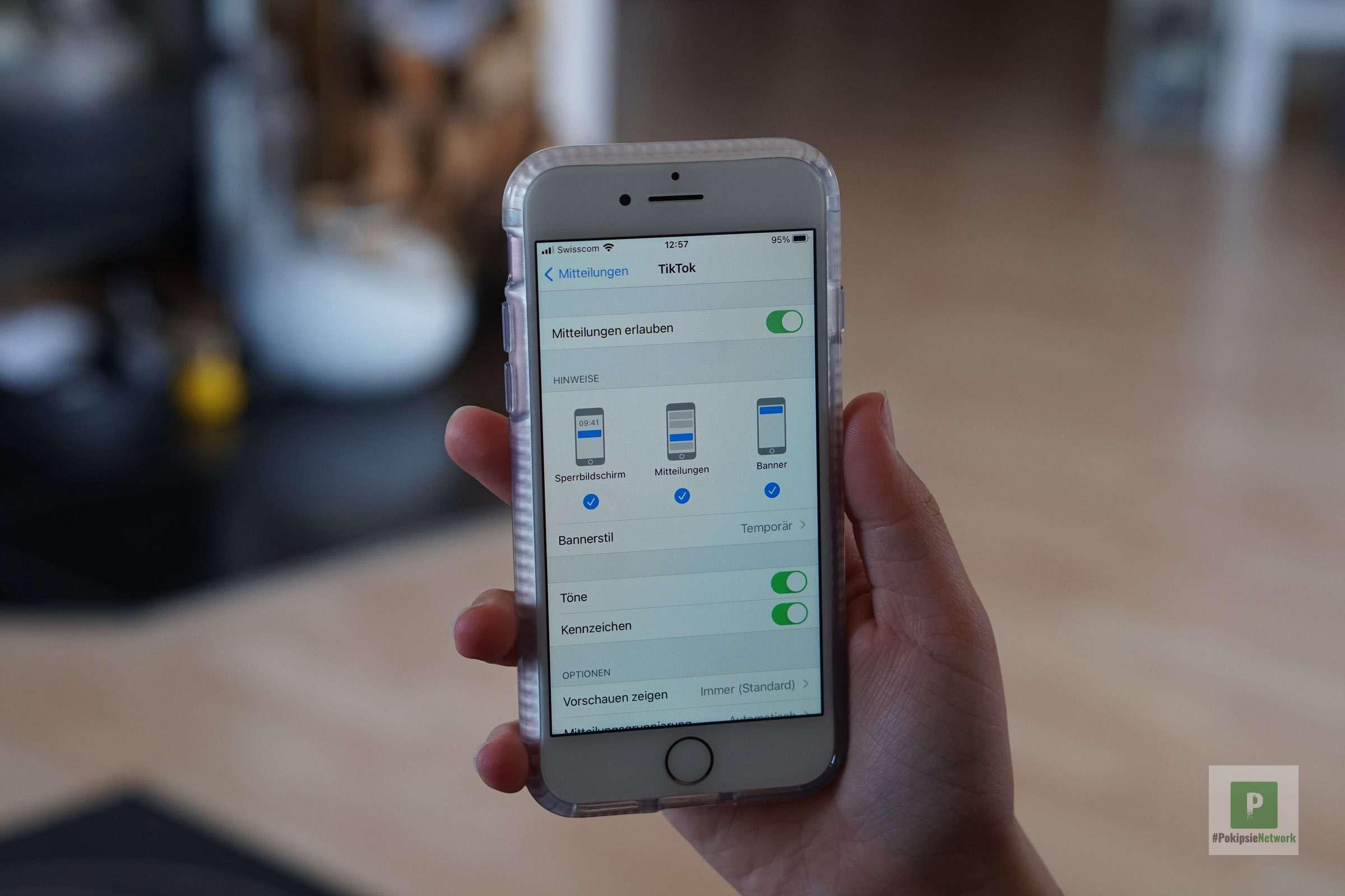 Mitteilungseinstellungen - Pushmeldungen - unter iOS