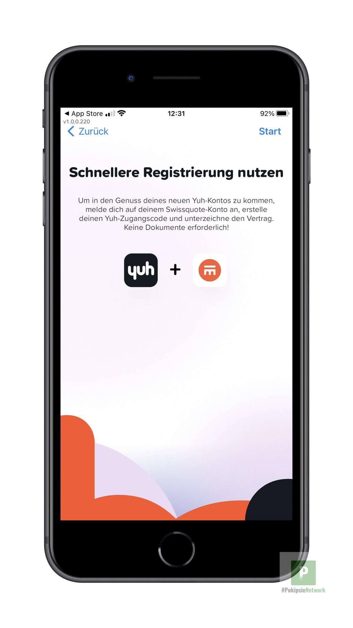 Registrieren mit dem bestehenden Swissquote Konto