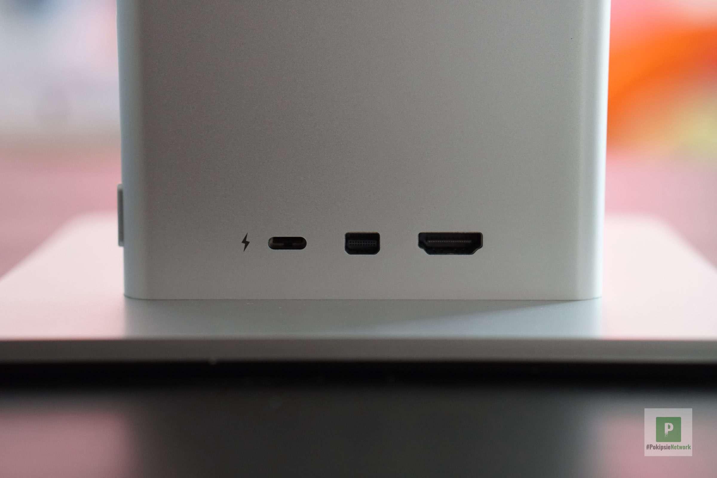USB-C-Stromanschluss, Mini DisplayPort und HDMI-Anschluss