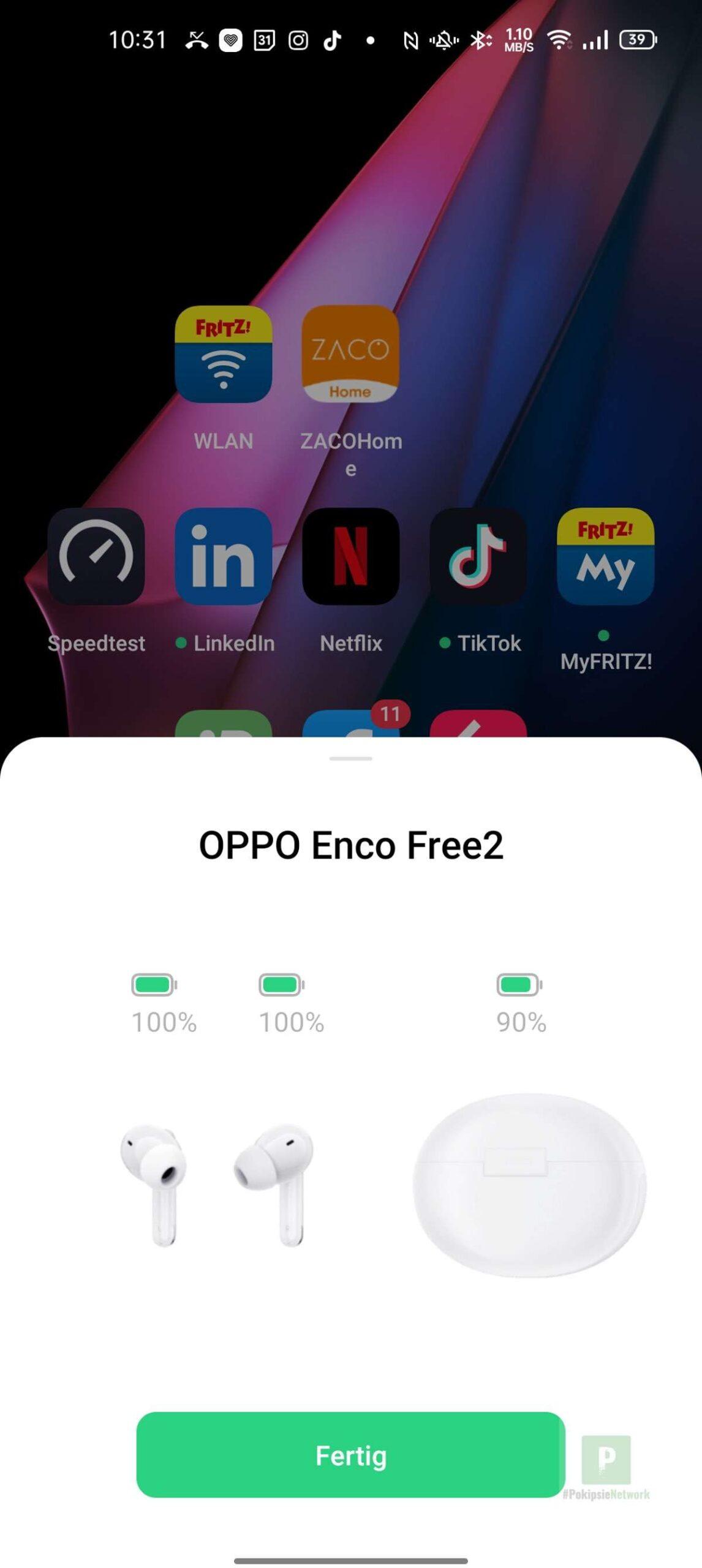 OPPO Kopfhörer gefunden und verbunden
