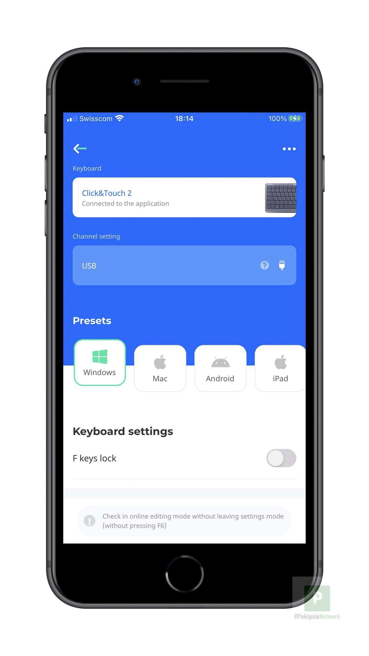 Die App mit verbundener Tastatur