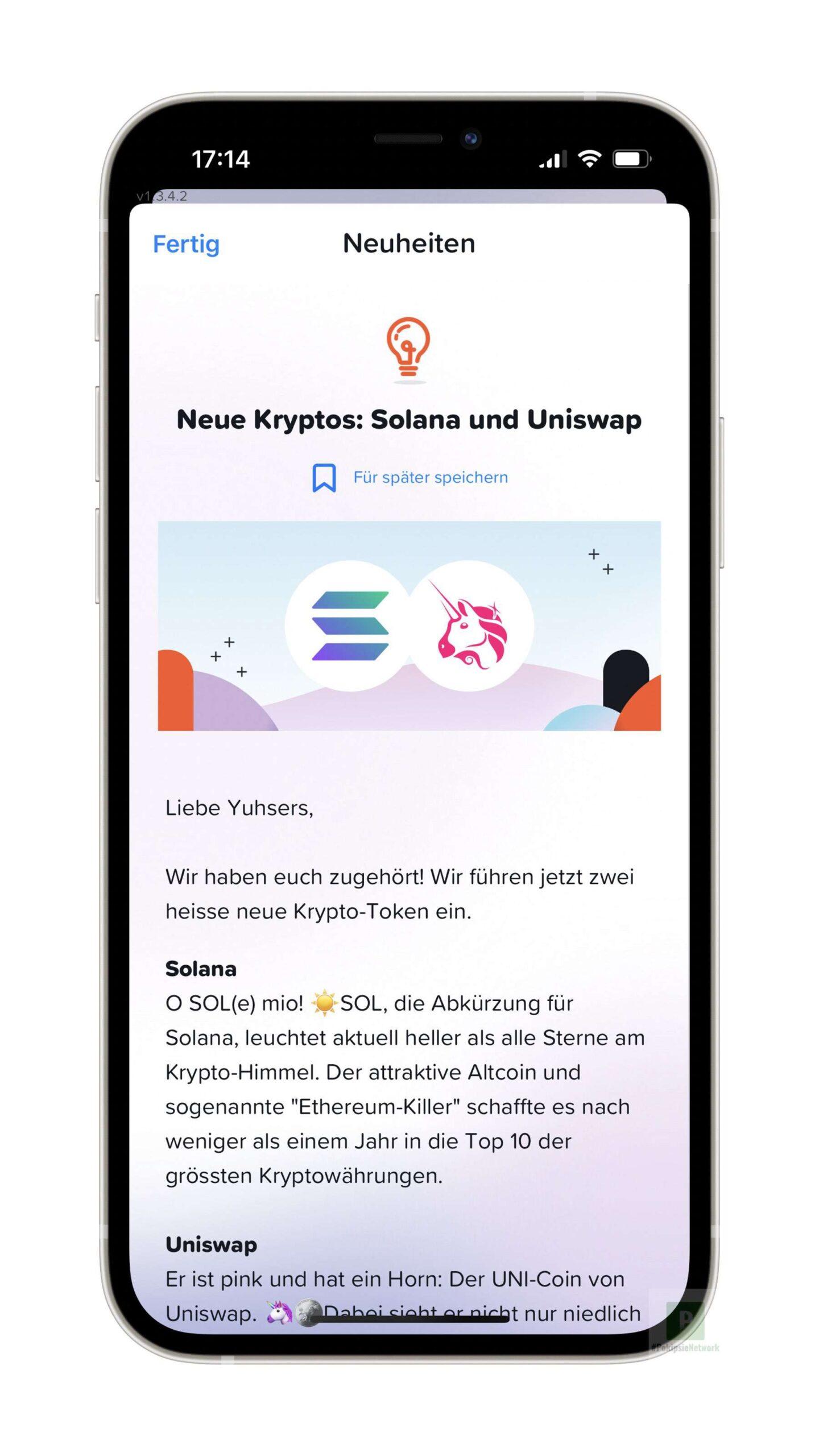 Solana und Uniswap – zwei neue Kryptowährungen bei yuh