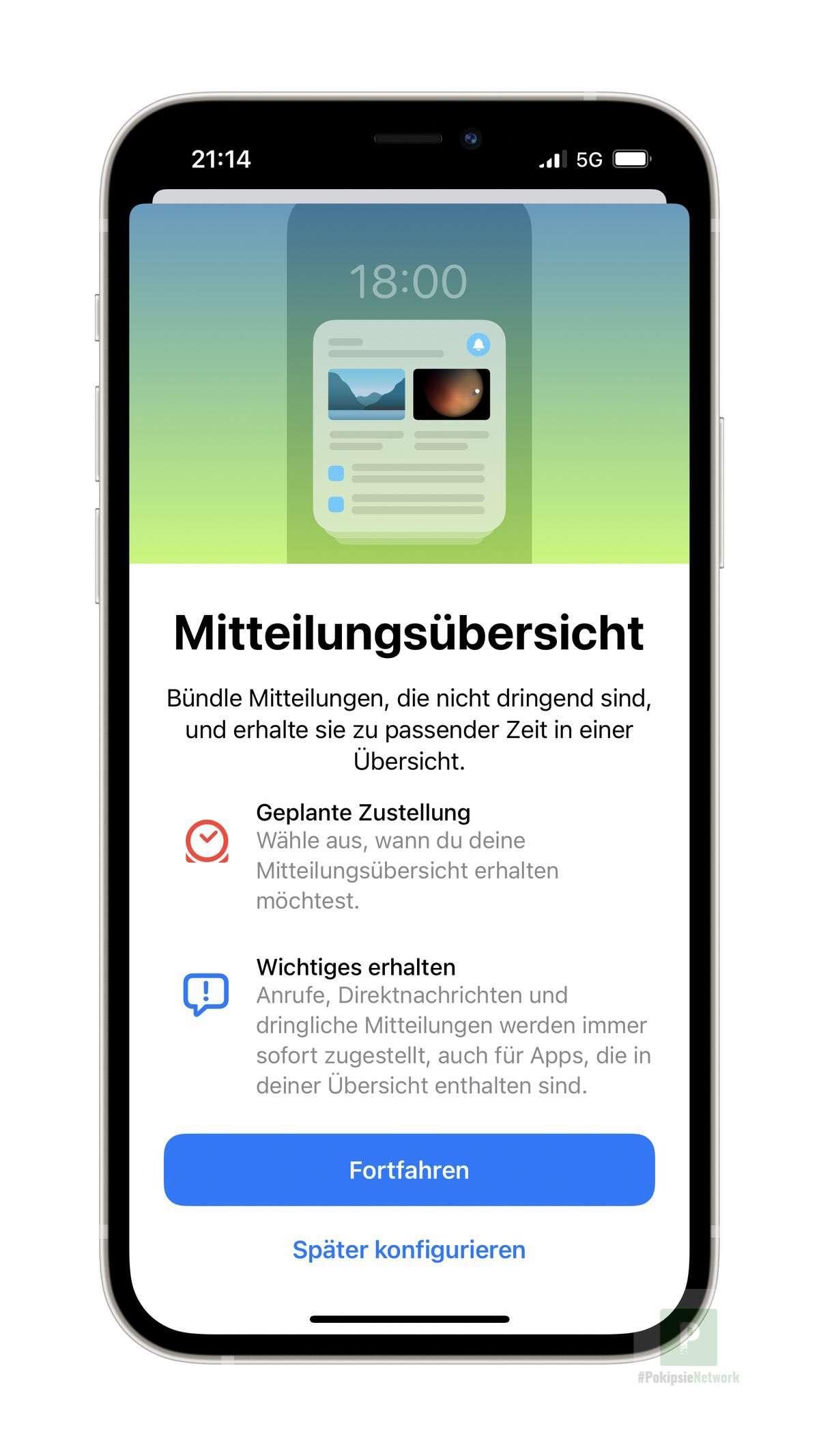 Tutorial – iOS 15 – Geplante Übersicht konfigurieren